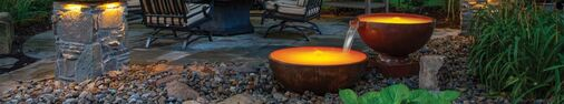 Fineshed copper bowls Atlantic Professional Pond Contractor - Rainwater Harvesting Rain Barrels